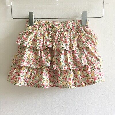 Peek Girls Skirt 18-24 Mos Cotton Floral Ruffled Tiered Flowers Lined Toddler