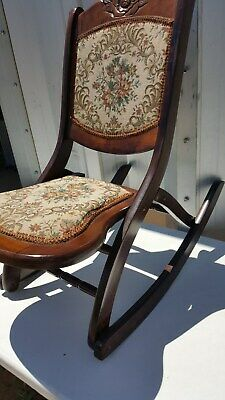 Beautiful Wood Folding Rocker Rocking Chair Tapestry Victorian