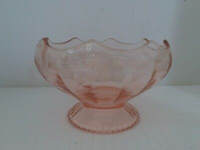 Pink Depression Glass Fruit Bowl Candy Dish on Pedestal With Etched Flowers
