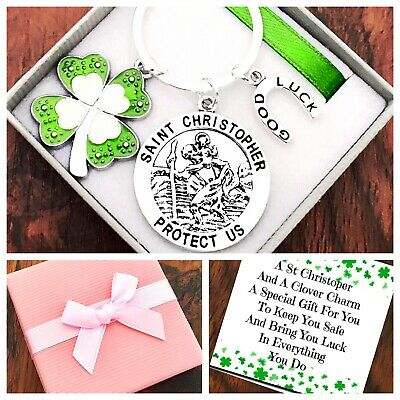 ST CHRISTOPHER, FOUR LEAF CLOVER 🍀 Travel, Good Luck, Keyring,PERSONALISED Gift