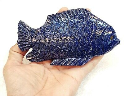 Wonderful Natural Ancient Old Lapis lazuli Stone Hand Carved Beautiful Fish