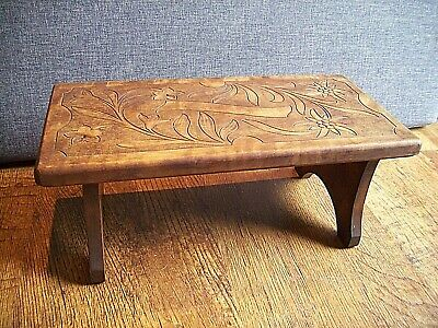 Vintage Swiss Hardwood Folding/Collapsible Footstool Hand-Carved (Floral Design)