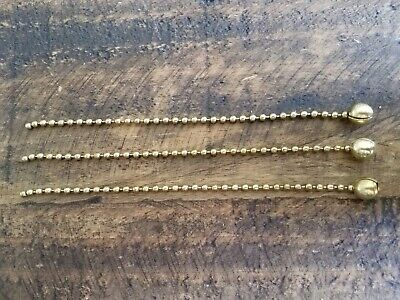 """3/8"""" Large Three Brass Bead Chains - Antique Vintage Deco Light Fixture Shade"""