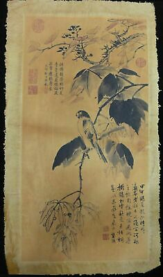 """Very Large Old Chinese Paper Painting Tree and Vivid Bird """"LanYing"""" Marks"""