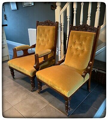 Pair of Late Antique Victorian Walnut Framed Salon Armchairs