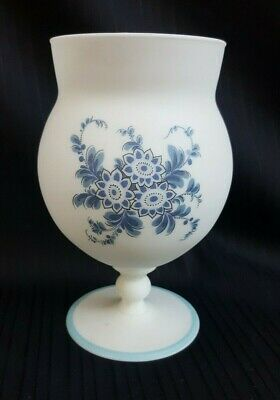Vintage Norleans White Satin Frosted Glass,Hand Decorated Blue Flowers,1940's