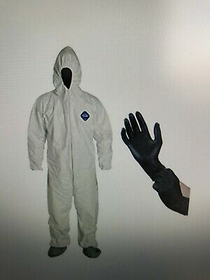 Dupont TY122 White Tyvek Disposable Coverall W/Hood, Boots & 1 PR Nitrile Gloves