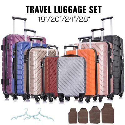 "4 piece Travel Luggage Set Suitcase Spinner Hardshell Business Case 18""20""24""28"""
