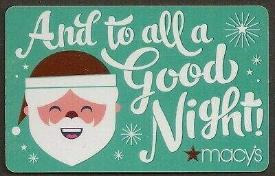 Macy's collectible gift card no value mint #04 And to all a Good Night