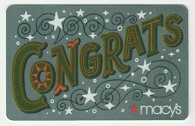 Macy's collectible gift card no value mint #29 Congrats