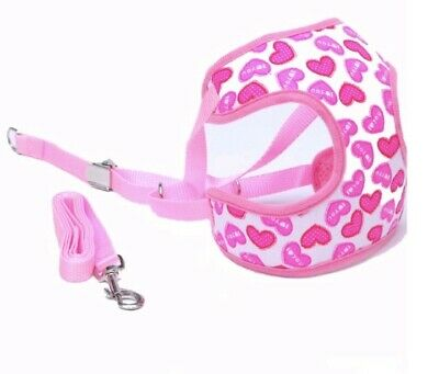 Cat Harness Coat and Leash Lead Pink Hearts Chihuahua Puppy XXXS XXS XS SMALL