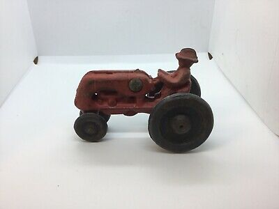 Vintage Cast Iron Red Tractor with Driver Toy - Antique Case