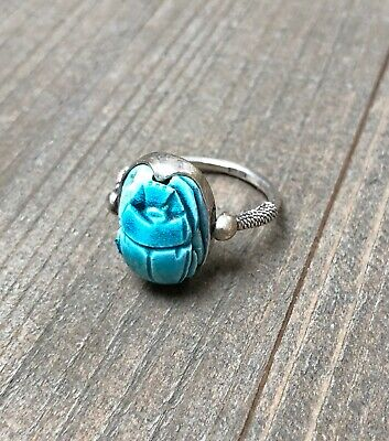 Silver Scarab Ring Hinged Blue Stone Beetle STERLING Silver ESTATE Vintage Egypt