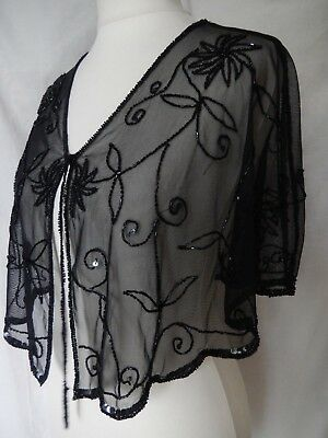 Cape Beaded 20s Flapper Gatsby Peaky Blinders Downton Abbey Goth Victorian Black
