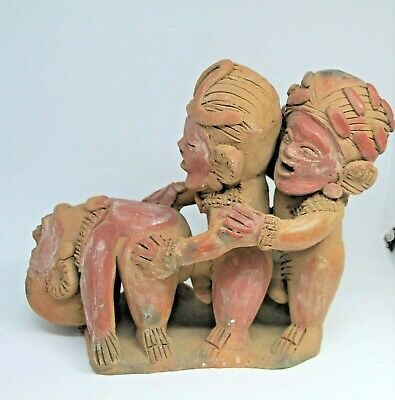 Pre-Columbian Artifacts Mayan Erotica 2 men 1 female  Statue #6