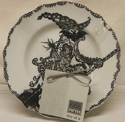 Set of 4 New 222 Fifth Porcelain Halloween WICCAN LACE Appetizer Plates, NIP