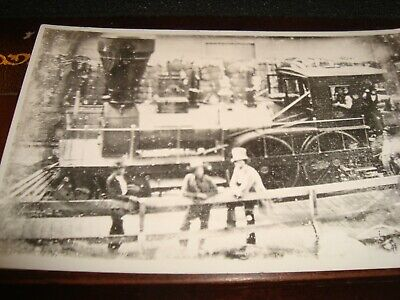 Vintage Rppc Providence& Worchester Railway 1887 Engine And Crew