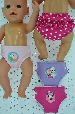 """Play n Wear Dolls Clothes For 17"""" Baby Born 3 REUSABLE NAPPIES~RUFFLE PANTS"""