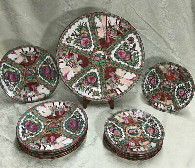 Qing, 19th CENTURY CHINESE CANTON FAMILLE ROSE, RED 13 Pc.  Plates, Platers