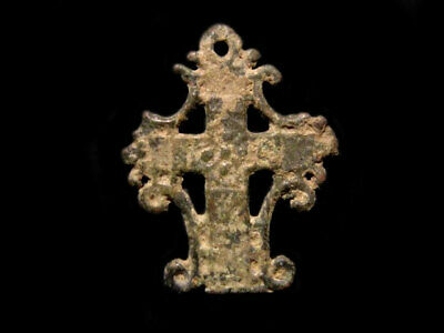 EXTREMELY RARE COMPACT BYZANTINE Bronze CROSS+++AS FOUND+++