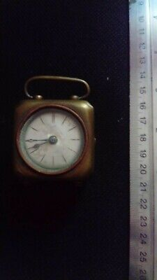 antique travel carriage clock, brass, XIXc, works, needs attention