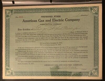 US Early American Gas And Electric COMPANY Preferred STOCK CERTIFICATE 1915 B9/8