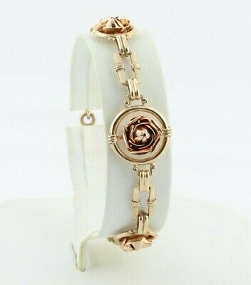 """10k Yellow Gold and Rose Gold Flower Bracelet Antique Arts and Crafts 7 1/4"""""""