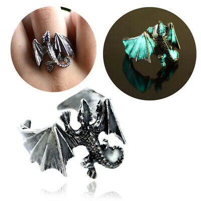 Antique Bronze Pterosaur Dragon Open Ring Glow In The Dark Punk Jewelry Gifts
