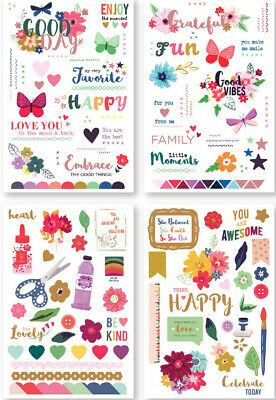 4 Sheets Flowers Rub-On Transfers Paper for Scrapbooking Handcrafts Making Decor