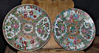 2 antique 19th century chinese rose medallion hand painted plates china
