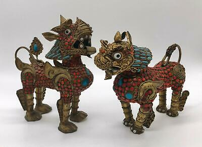 """Pair of Antique Brass Tibetan Turquoise & Coral Inlay Foo Dogs--5.5"""" Tall"""