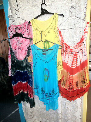 Bulk Lot 10 Tops Tie Dye   Summer  Mix Colours New