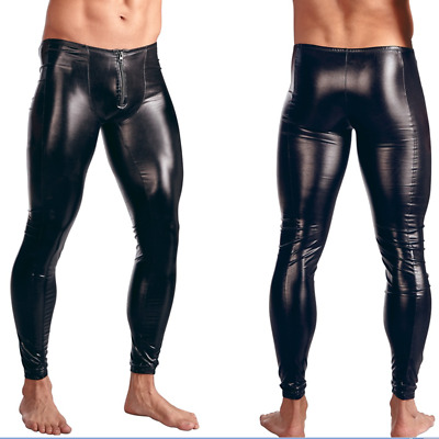 Sexy Mens Faux Leather Skinny Leggings Pants Tight PU Slim Fit Bodywear Trousers