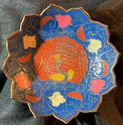 Vintage Indian Handmade Brass Enamel Peacock Bowl Made In India
