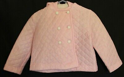 VINTAGE 1960'S ~ Baby Girls Pale Pink Quilted Hooded Double Breasted Jacket 1