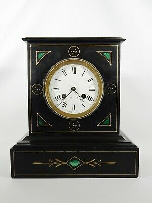 Antique Victorian French Black Marble Mantle Table Clock Japy Freres France