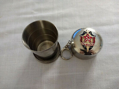 Soviet Collapsible Pop Up Metal Cup Shot Glass Russian Russia USSR Communist