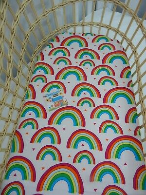 Bassinet Fitted Sheet Rainbows 100% Cotton FITS STANDARD BASSINET