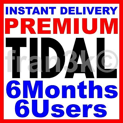 TIDAL Hi-Fi FAMILY Plan | 6 Months GUARANTEED | 6 Users | INSTANT 5 min DELIVERY