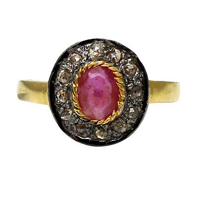 Antique 925 Sterling Silver Rose cut Diamond Red Ruby Antique Victorian Ring