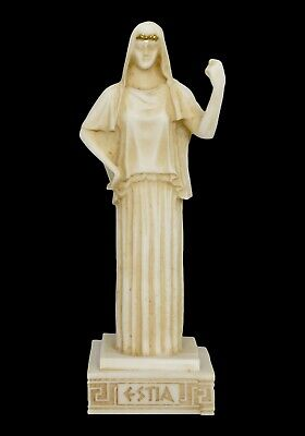 Hestia small Alabaster aged statue - Greek Goddess of The Family and The State