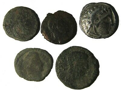 Lot Of 5 Ancient Greek And Roman Coins With Drachm Of Alexander Iii, Rare