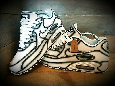 NIKE AIR MAX 90Custom PaintedWhite BlackUltraEssential