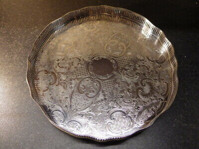 VINTAGE Large Silver Plated Circular GALLERY TRAY