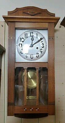 Vintage Compact Light Wood Arts & Crafts 8 Day Wall Clock with Strike