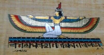 EGYPTIAN PAPYRUS, Isis GODDESS of MARRIAGE, WISDOM & HEALTH, HANDMADE PAINTING