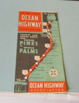1940's New York to Florida Ocean Highway Map Northern Pines to Southern Palms
