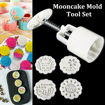 4 Flower Stamps Round Shape Moon Cake Pastry Mold Hand Pressure Mooncake Mould