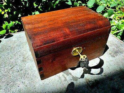 Mahogany Dome Topped  Jewellery Trinket Box With Working Lock &key.good project