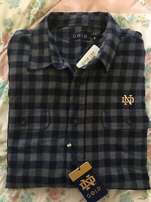 NWT University Of Norte Dame Logo Woven Plaid Shirt NCAA Free Shipping